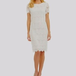 Jun & Ivy White Laced Mini Graduation Dress Small